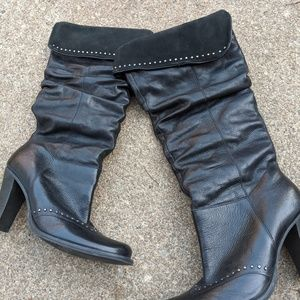 Kenneth Cole Black Studded Leather Heel Boots 6.5